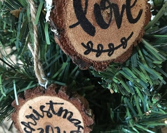 Personalized Ornament, Handmade Wood Slice Christmas Ornaments, Custom Ornament Wood Slice Decor, Wedding Favor, Gift Tag, Handmade Ornament