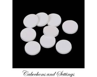20 x White Round 15mm  Laser Cut White Wood Cabochons For Earrings etc   Made in AUSTRALIA