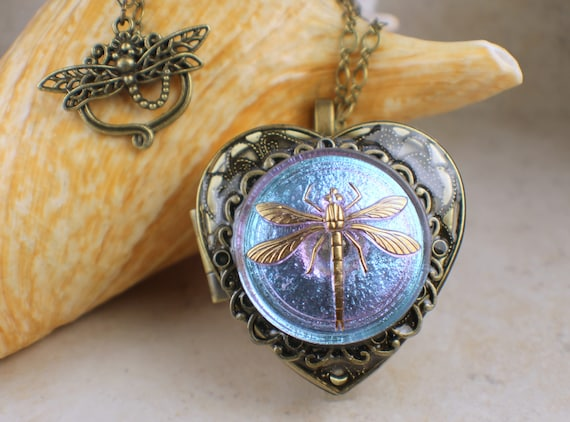 Czech glass dragonfly music box locket heart music box like this item aloadofball Gallery