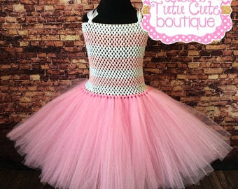 Pretty in pink princess party dress. Easter dress. Sock Monkey Inspired. Pink tutu. Pink and white tutu. Pink and white tutu dress.