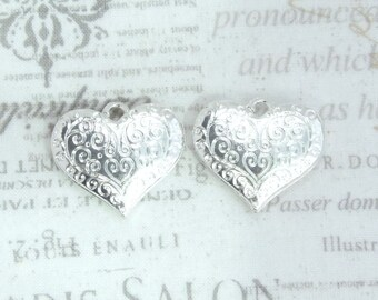 Silver Heart Pendant Love Charm Filigree Heart Pendant Ornate Heart Pendant Valentine Charm