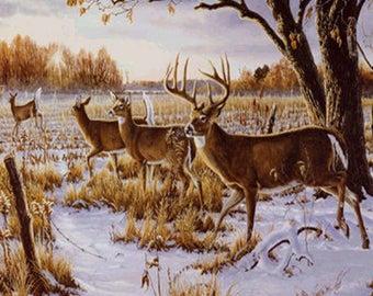 Cautious Deer Crossing Cross Stitch Pattern***LOOK***