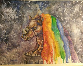Rainbow rhino original watercolor handmade art illustration pride chakra painting