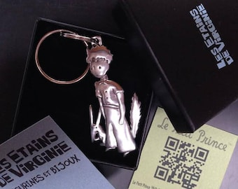 """""""The little Prince"""" keychain. TM © Antoine de St - Exupéry 2014-little Prince and the solid brass Fox"""