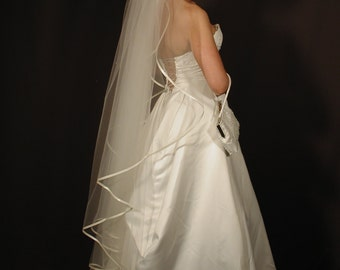 "Angel cut/water fall wedding veil with 1/4"" satin ribbon. Bridal veil angel"
