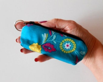 Coin Purse Mini Key Ring Zipper Pouch ECO Friendly Padded Lip Balm Case Earbud Pouch NEW Wildflowers on Teal