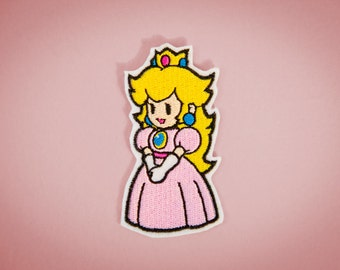 Paper Princess Peach -- Iron-on Nintendo patch from Paper Mario Brothers NES game