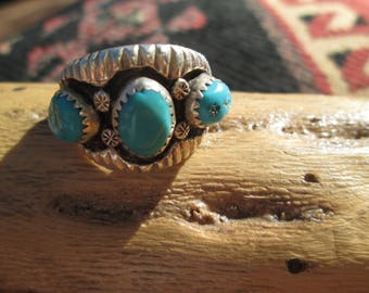 Turquoise and Sterling Silver Ring Size 10