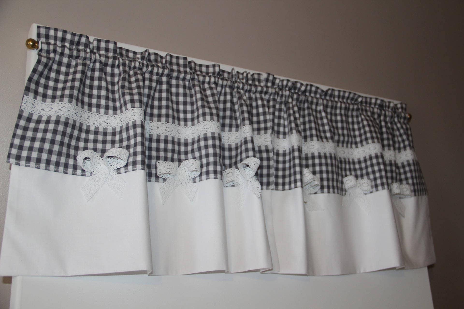 rideau brise bise en coton vichy gris. Black Bedroom Furniture Sets. Home Design Ideas