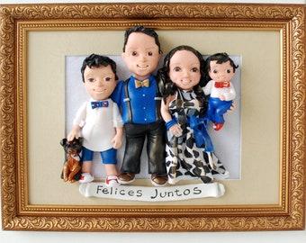 Felises Juntos Unique Gift for Family Miniature Sculpture 3D Clay Portrait Pet Portrait Gift for Husband for Wife