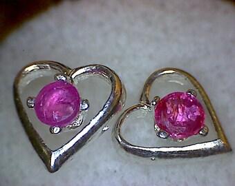 Beautiful Ruby Heart Earrings