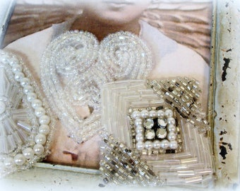 vintage beaded appliques pearls and rhinestones crystal ab bugle and seed beads elongated octagon square heart appliques
