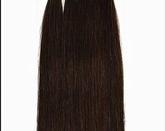 Chocolate Brown U Tip Nail Tip Fusion Tips Remy Human Hair Extensions 17 inch length USA Made