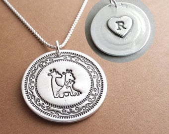 Personalized Giraffe Family Necklace, Heart Monogram, Mom Dad Baby, New Family, Fine Silver, Sterling Silver Chain, Made To Order