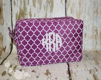 Monogrammed Purple Quatrefoil Cosmetic Bag, Makeup Case - Bridesmaid, Wedding, Graduation, Birthday Gift
