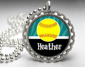 1 Personalized Teal Softball Bottlecap Necklace, 15 Color Choices, softball gifts, softball team, softball team gifts, necklaces