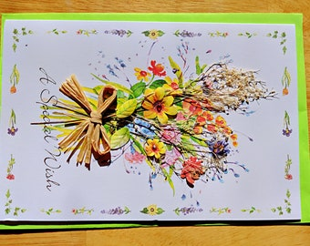 Greeting Card, Mother's Card, Card for Her, Paper Dry Flower Card, Best Wishes, All Purpose