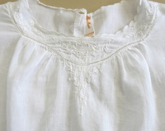 Baby Dress Slip White Batiste Hand Made Eastern Isles Delicate Hand Embroidery Christening Outfit 9 -12 Months 141A