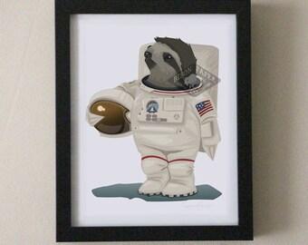 Cute Sloth Astronaut 8x10 Art Print