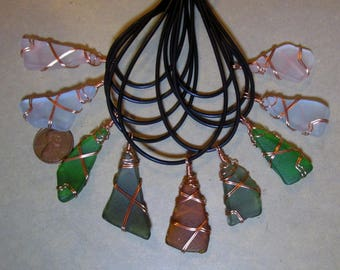 """One Wire Wrapped Sea Glass Pendant Necklace- """"Twice Tossed"""" Long Island Sound glass wrapped in solid copper wire- Choice of colors"""
