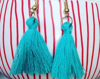 Earrings blue tassels