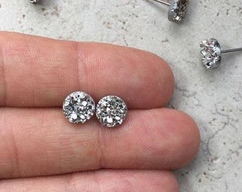 Set of 6 Bridesmaid Gifts, 6 Pairs Silver Faux Druzy Earrings, Small 8mm Round Studs, Sparkly Silver Wedding Jewelry