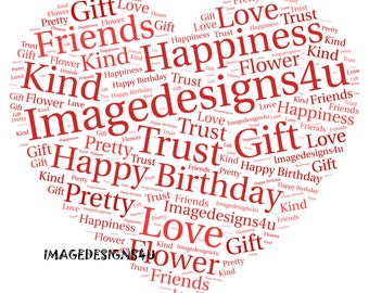 Personalised Heart Word Art Fun Print Perfect for Anniversarys, Weddings, Birthdays Or for Your Loved One