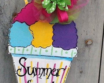 Ice cream soda sign, summer door sign, slushy sign, ice cream soda hanger, snow cone sign, welcome summer sign, party food sign