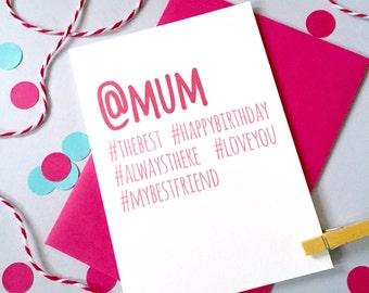 Hashtag Birthday Card – Personalised Birthday Card – Birthday card for daughter - Birthday card for son - Social Media Card - instagram card