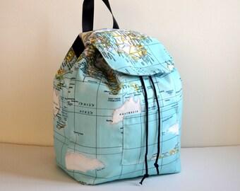 Canvas Backpack, Rucksack, Travel Bag, Hipster Backpack, Diaper Bag, Boho Bag, Baby shower Gift, Back To School Gift, World Map Bag