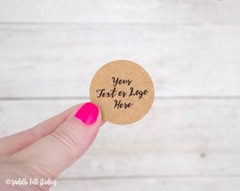 "Custom Stickers - Custom Labels - 1.5"" Circle Stickers - Set of 48 - Personalized Labels - Kraft Stickers - S0107-2"