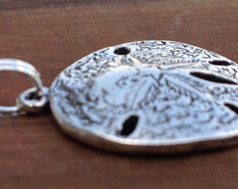 Sand Dollar Pendant Charm Sterling Silver ONLY. Uniquely detailed.