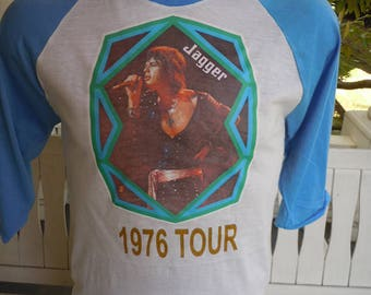 Size M- (41) ** Old Sock Dated 1976 Mick Jagger / Rolling Stones Shirt (Single Sided) (Screen Stars) (Fully Licensed)