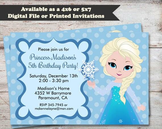 Princess Elsa Birthday Invitations Frozen Birthday Party