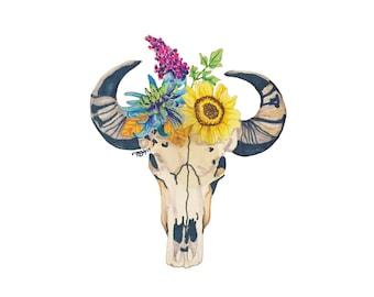 Buffalo Skull with Flowers