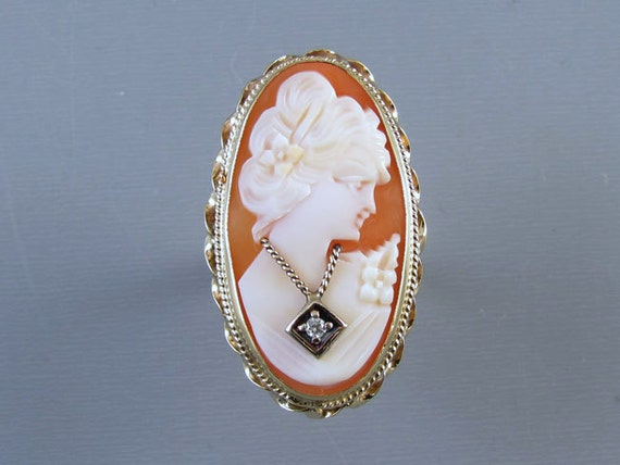 HUGE vintage estate 14k gold cameo En Habille diamond ring / size 7 / statement ring / cocktail ring