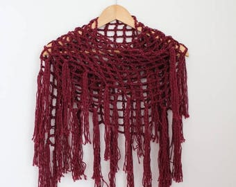 Sale Triangle Fringe Scarf- Burgundy- Fishnet Shawl- Wool/Linen- Gift for Her- Christmas Gift- Infinity Scarf- Bohemian Fringe Scarf- Boho S