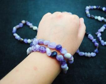 "Amethyst 7"" Free-Form Polished Stretch Bracelet ~ FREE SHIPPING"