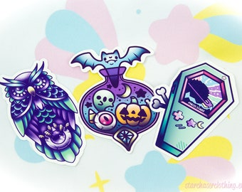 Pastel Goth Kawaii and Creepy Cute Halloween Vinyl Stickers, Bats, Potion, Pumpkins, Coffin, Owl