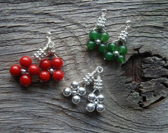 """HOLIDAY WARDROBE Christmas Bridesmaids Earrings - """"It's Beginning to Look a lot like Christmas"""" Set of 3 Coral, Jade, in Sterling Silver"""