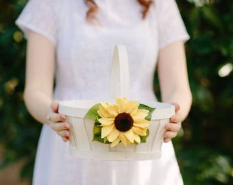 Sunflower flower girl basket | white wood basket | wedding | rustic decoration | easter basket | wedding accessory | sunflower | flower girl