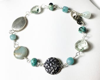 Amazonite Turquoise Quartz  Mixed Gemstone Bracelet, Sterling Silver Pastel Boho, Gifts for Her