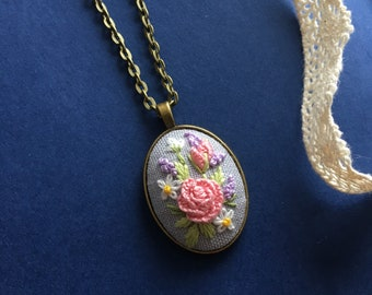 Embroidered floral necklace. Pink rose necklace, floral necklace
