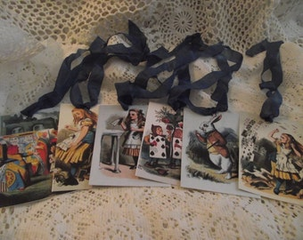 Alice In Wonderland Gift Tags Adorned With Blue Seam Binding Ribbon