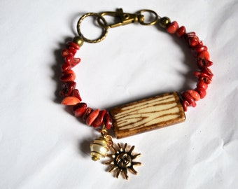 CORAL and ZEBRA Bracelet Sun and Vintage Pearl Charm Bracelet Brown Cream Animal Print Focal Bead