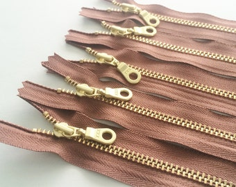 YKK Brass Gold Metal Donut Pull Zippers (5) Pieces - Dusty Mauve 855 -  Available in 7,8,9,12, and 16 inches