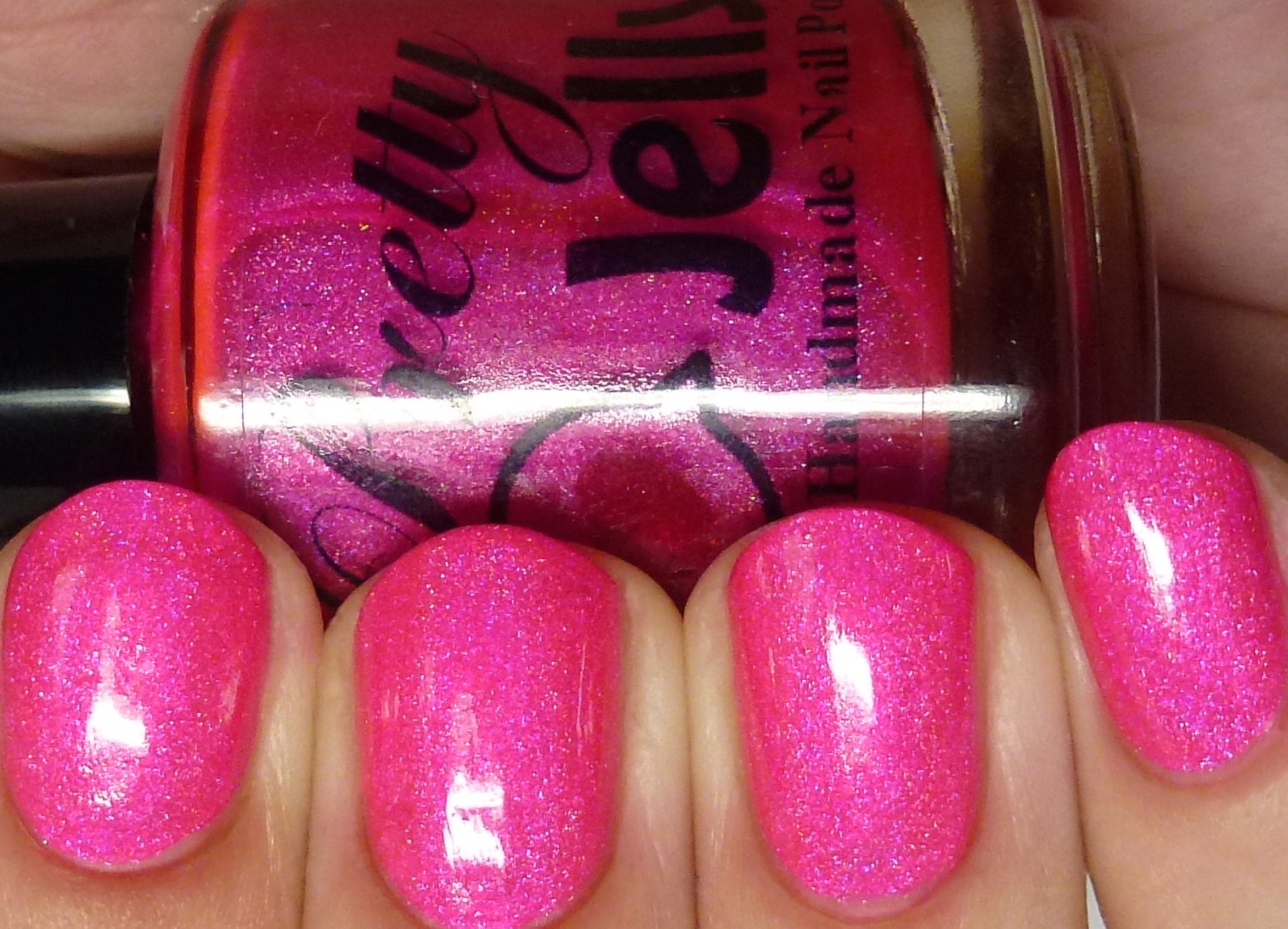 Holographic Nail Polish, Neon Pink Nail Lacquer, Shimmer Sparkle ...
