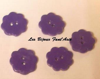 Set of 5 handmade buttons 15mm purple flower polymer clay