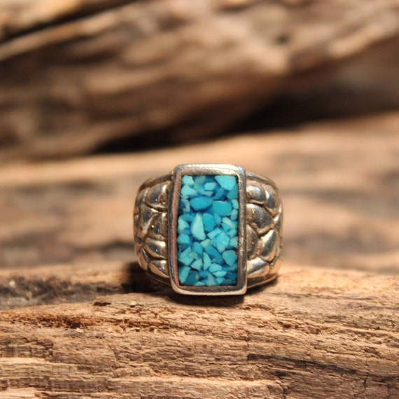 Mens Ring Navajo Sterling Silver Turquoise Chip Inlay Ring Heavy 13.4 Grams Size 6.5 Silver Ring Southwestern Vintage Sterling Silver Ring