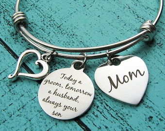 Mother of the groom gift, wedding gift for Mom, bridal gift from son, groom gift for mom, today a groom tomorrow a husband always your son